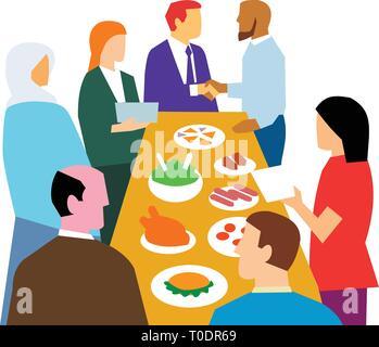 In stile retrò illustrazione che mostra il concetto di diversità nel luogo di lavoro con culture diverse in un ufficio partito celebrazione su isolati backgrou bianco Immagini Stock