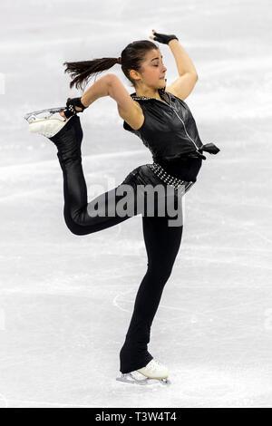 Ivett Tóth (HUN) competere nel pattinaggio di figura - Ladies' breve presso i Giochi Olimpici Invernali PyeongChang 2018 Immagini Stock