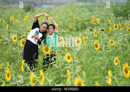 Mingguang. 17 Luglio, 2019. I turisti prendono selfies Meiying nel villaggio di Sanjie città in Mingguang, est cinese della provincia di Anhui. Luglio 17, 2019. Città Sanjie sviluppa il turismo rurale per potenziare lo sviluppo rurale. Credito: Liu Junxi/Xinhua/Alamy Live News Immagini Stock