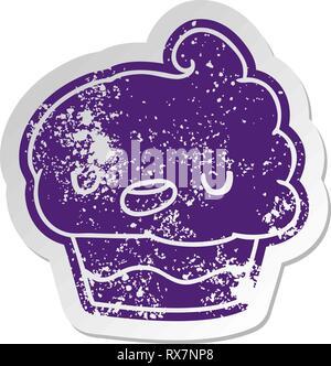Addolorato il vecchio adesivo cartoon kawaii di un simpatico cupcake Immagini Stock