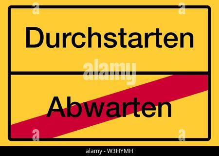 Posizionare il nome segno, fine della città, immagine simbolica, avviare o attendere, Germania Immagini Stock