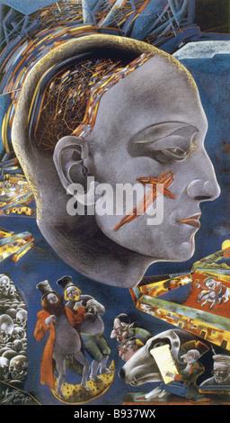 Ritratto di auto dal pittore e scultore Mikhail Shemyakin b 1943 pastelli e matite colorate su carta 1986 89 Immagini Stock