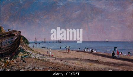 La spiaggia di Brighton, da John Constable. Sussex, Inghilterra, 1824 Immagini Stock