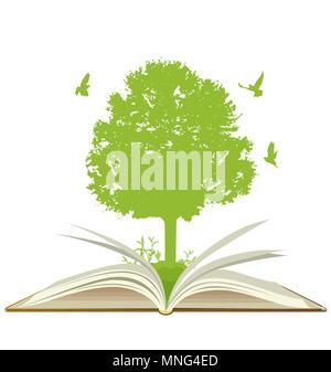 Libro aperto con albero verde e uccelli su uno sfondo bianco. Concetto di ecologia. Immagini Stock