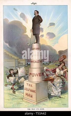 THEODORE ROOSEVELT (1858-1919) American satira sul self made Presidente Immagini Stock