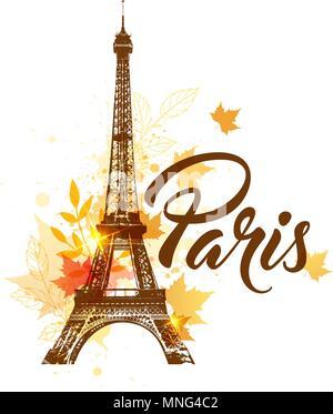 Sfondo del vettore con la torre Eiffel e l'autunno foglie di acero Immagini Stock
