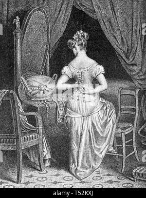 Corsetto moda circa 1820 Immagini Stock
