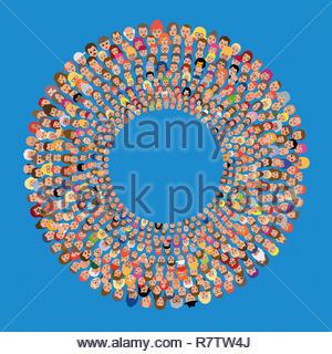 Un sacco di volti di persone in cerchi concentrici Immagini Stock