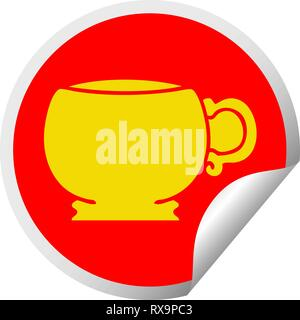 Peeling circolare sticker quirky cartoon mug Immagini Stock
