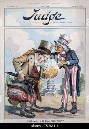 THEODORE ROOSEVELT (1858-1919) sul co0ver del giudice americano magazine nel 1906 Immagini Stock