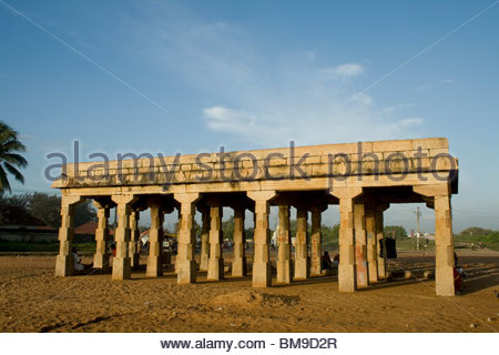 Storica struttura in pietra a SHANGHUMUGHAM BEACH, TRIVANDRUM Immagini Stock