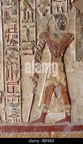 """Una fotografia presa entro la tomba di Renni, """"sorvegliante dei sacerdoti di Nekhbet' al tempo di Amenofi I a Elkab, situato a 90 km a sud di Tebe. Amenhotep I fu il secondo Faraone della XVIII dinastia di Egitto. Il suo regno è generalmente datato dal 1526 al 1506 BC. Immagini Stock"""