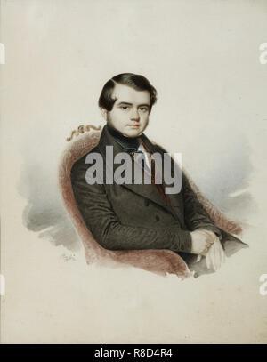 Ritratto dello scrittore di conte Vladimir Aleksandrovic Sollogub (1813-1882), 1840s. Presenti nella collezione del Museo di Stato di A.S. Puskin di Mosca. Immagini Stock