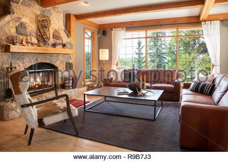 Home Vetrina interno soggiorno con divani in pelle e camino in pietra Immagini Stock