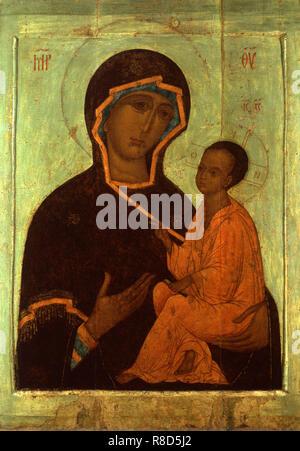 La Vergine di Tikhvin, del XVI secolo. Trovato nella raccolta di stato A. Rublyov Museo di Antica Arte Russa di Mosca. Immagini Stock