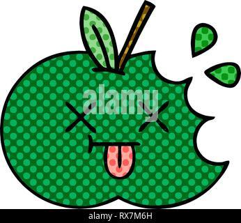 In stile fumetto cartoon di una succosa mela Immagini Stock