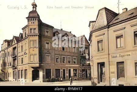Edifici di Coswig, Tabacco negozi in Germania, negozi in Sassonia, 1908, Landkreis Meißen, Coswig, Ecke Hauptstraße und Dresdner Straße Immagini Stock