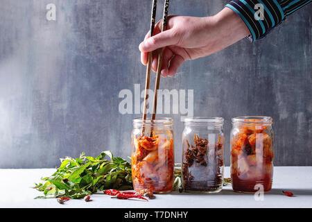 Coreano Tradizionale antipasto fermentato kimchi cavolo e insalata di rafano, pesce snack serviti in vasi di vetro con origano vietnamita e peperoncino su Immagini Stock