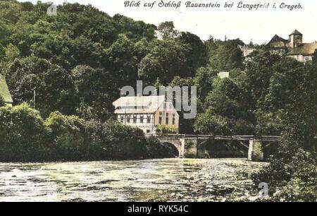 Schloss Rauenstein, ponti in Erzgebirgskreis, Flöha (fiume), 1915, Erzgebirgskreis, Rauenstein, Schloß, Germania Immagini Stock
