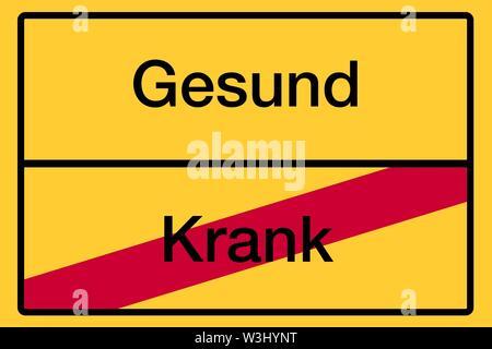Posizionare il nome segno, fine della città, immagine simbolica, sani o malati, salute, Germania Immagini Stock
