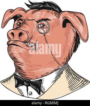 Disegno stile sketch illustrazione di un nobile aristocratico di maiale che indossa un monocolo e business suit con cravatta o tuxedo guardando verso l'alto. Immagini Stock