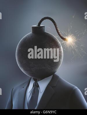Imprenditore con una bomba al posto della sua testa con un fusibile di lit - 3D illustrazione Immagini Stock