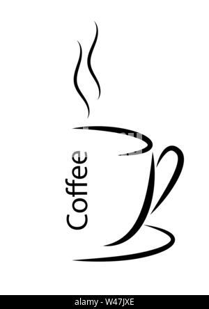 Abstract illustrazione vettoriale di una tazza di caffè caldo con vapore. Design piatto. Immagini Stock