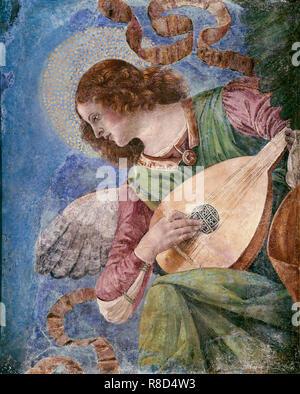 Musicista angel, c1480. Trova nella collezione della Pinacoteca Vaticana, Roma. Immagini Stock