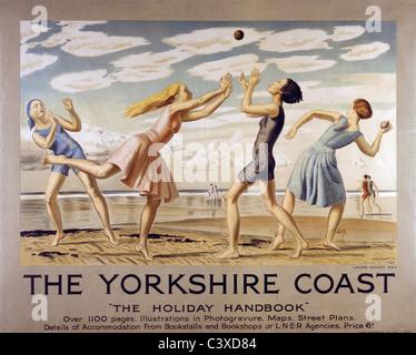 La costa dello Yorkshire, di Laura Knight. Inghilterra, 1929 Immagini Stock