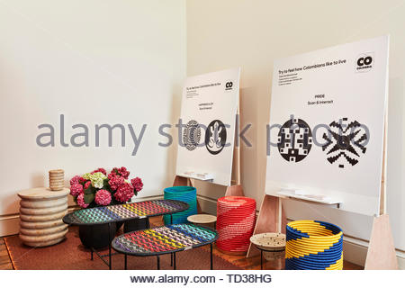 Installazione da parte di Tu Taller Design Studio e partner per la Colombia. London Design Biennale 2018, Londra, Regno Unito. Architetto: Vari , 2019. Immagini Stock