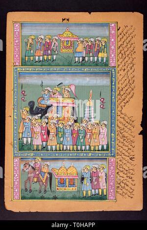 Rajasthani pittura in miniatura, Rajasthan, India, Asia Immagini Stock