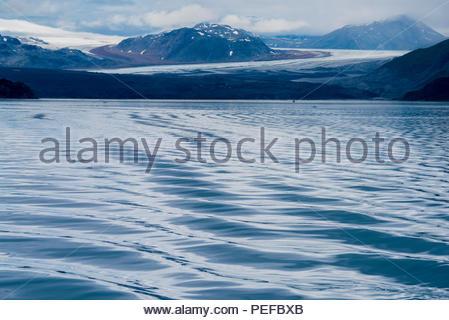 Una vista del Grand Pacific Glacier da Tarr ingresso, Parco Nazionale di Glacier Bay. Immagini Stock