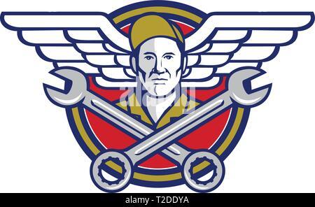 Icona di stile retrò illustrazione di un capo equipaggio o meccanico aeronautico con attraversata chiave o chiave e aviatore esercito o ali impostato all'interno del cerchio sul isola Immagini Stock