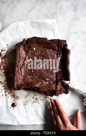 Disco per affettare senza Glutine Brownies Immagini Stock