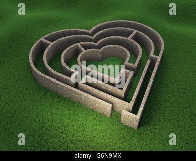 A forma di cuore ad un labirinto - amore e concetto di relazione 3D illustrazione Immagini Stock