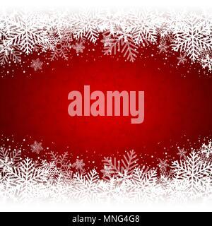 Decorazione di Natale rosso sfondo bianco con i fiocchi di neve. Illustrazione Vettoriale. Immagini Stock