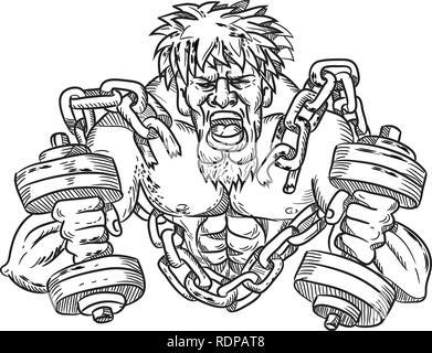 Lo stile del fumetto illustrazione di un smerigliato o strappati atleta con goatie e manubri rompere libera dalle catene e grillo se visto dalla parte anteriore . Immagini Stock