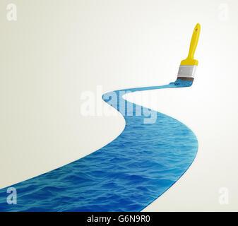 Acqua dipinta con un pennello - 3D illustrazione Immagini Stock