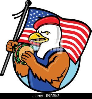 Lo stile del fumetto illustrazione di un American aquila calva tenendo un Stati Uniti a stelle e strisce bandiera e hamburger o sandwich burger impostato all'interno del cerchio sul isolat Immagini Stock