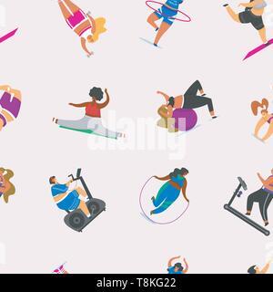 Le ragazze di Fitness più dimensioni configurazione senza giunture. Salute sport nel club. Donna grassa facendo esercizi, perde peso, in esecuzione sul simulatore, in fase di riscaldamento Immagini Stock