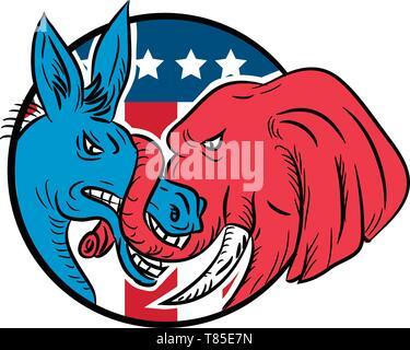 Disegno stile sketch illustrazione di un asino repubblicana di mordere un Democrat elephant combattimenti con USA American a stelle e strisce flag impostato all'interno circl Immagini Stock