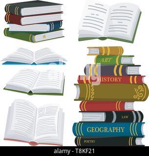 Pila di libri per amante della letteratura. Aprire enciclopedie per la lettura. Pagine invertite. Oggetto in stile contemporaneo. Illustrazione Vettoriale per poster. Immagini Stock