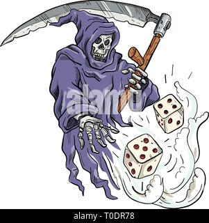 Disegno stile sketch illustrazione della personificazione della morte, Grim Reaper tenendo una falce di gettare e tirare i dadi sul bianco isolato ba Immagini Stock