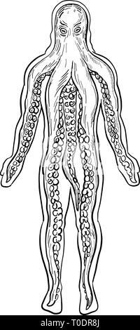 Disegno stile di disegno illustrativo di una piovra aliena all'interno di un corpo umano e la presa in consegna è visto dal lato anteriore isolato su sfondo bianco in nero a Immagini Stock