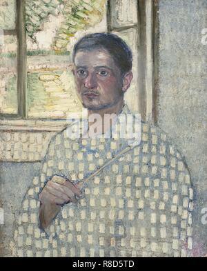 Autoritratto con pennello, 1907. Collezione privata. Immagini Stock