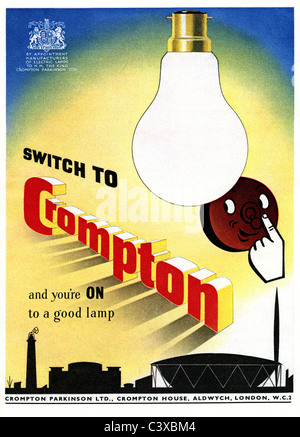 Pubblicità per il Crompton, dal Festival della Gran Bretagna guida, pubblicato da HMSO. Londra, UK, 1951 Immagini Stock