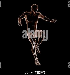 3D render di medici maschi figura salta con le ossa della gamba evidenziata Immagini Stock