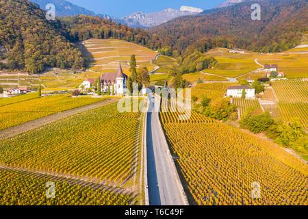 Chateau Maison Blanche, Yvorne, Canton Vaud, Svizzera Immagini Stock