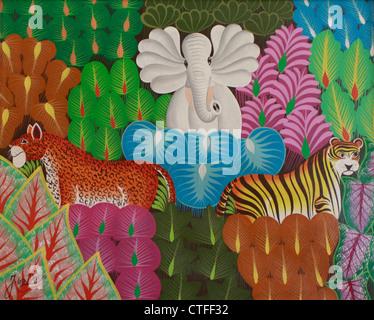 Colorato Naif (naive) pittura di animali della giungla in foresta compresi Elephant,Tiger e Leopard da artista haitiano Immagini Stock
