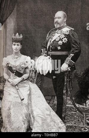 Vecchia foto d'epoca di Re Edoardo VII e la Regina Alexandra Immagini Stock
